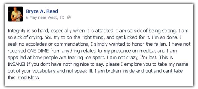Bryce Reed, Paramedic bomber West Texas
