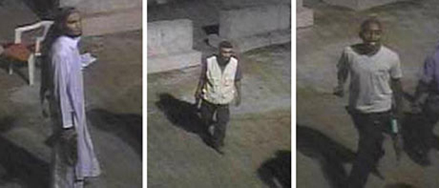 Images of three men taken from Surveillance footage on the grounds of the U.S. Special Mission in Benghazi when it was attacked on Sept. 11, 2012.