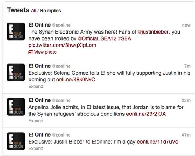 E! Twitter Acccount Hacked