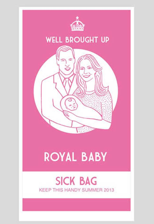 Royal Baby, Royal Baby Merchandise, Royal Baby Bag, Sick Bag