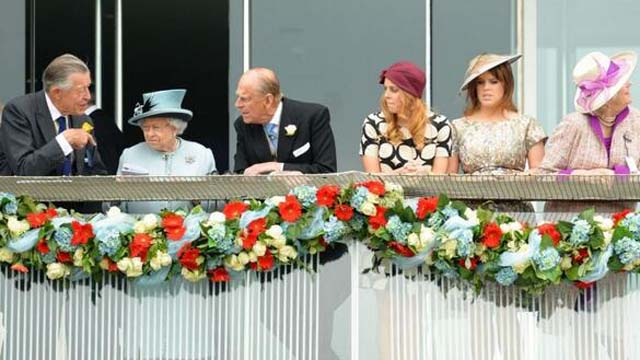 The Prince with Queen Elizabeth and some other royals at a horse race last weekend.