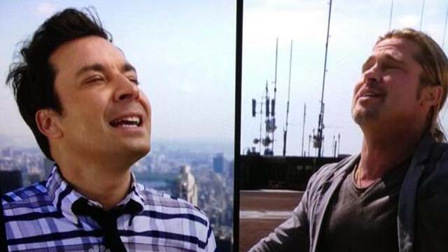 Brad Pitt, Jimmy Fallon, Late Night, Brad Pitt Yodel, Jimmy Fallon Yodel