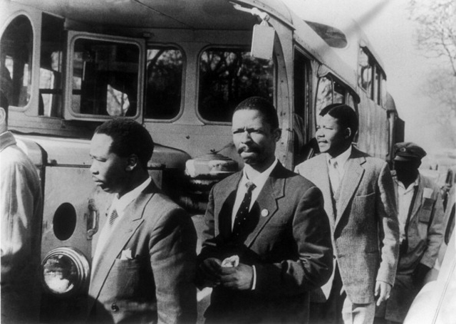 Nelson Mandela (3rd From Right) and Other Militants Charged With Treason By The South-African Union Walked To The Room Where Their Trial Was Being Held In 1956.  (Getty Images)