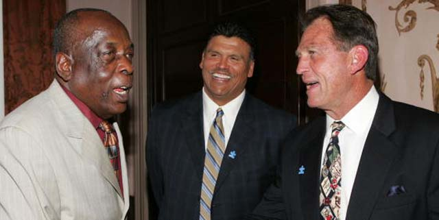 Deacon Jones, former Cincinnati Bengal, Anthony Munoz, and former Los Angeles Ram, Jack Youngblood attend the NFL Legends and Autism Speaks Kickoff for a Cure Benefit at the Waldorf-Astoria on March 12, 2008 in New York City. (Photo by Thos Robinson/Getty Images for Autism Speaks)