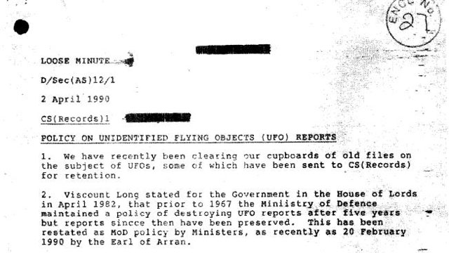 declassified UFO Documents Ministry of Defense
