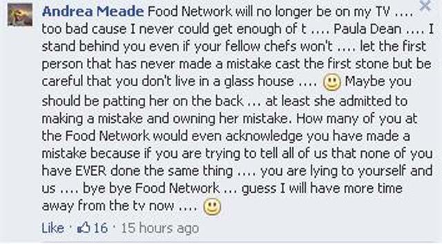 Paula Deen fired, Food Network Facebook