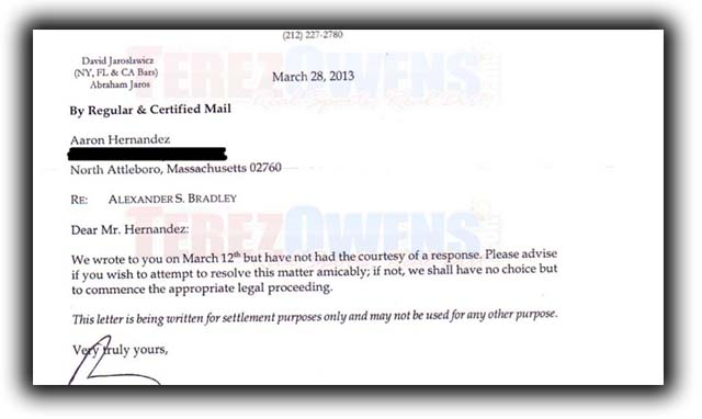 Lawyer letter Aaron Hernandez Murder probe