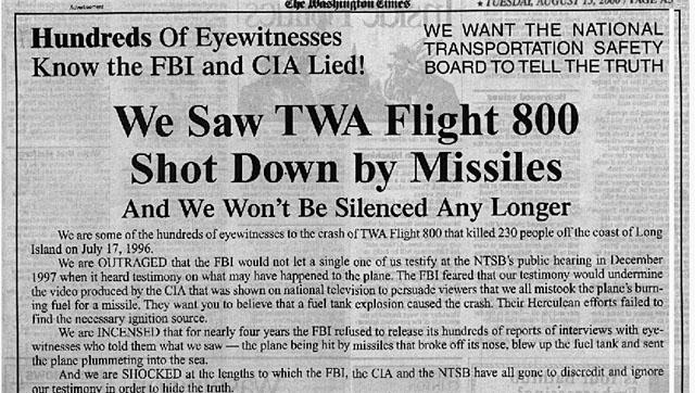 washigton times, twa 800, conspiracy