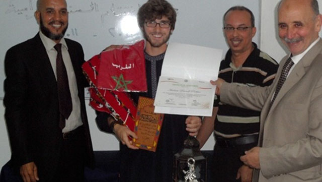 Pochter with his teachers in Morocco where he received a Arabic language certificate