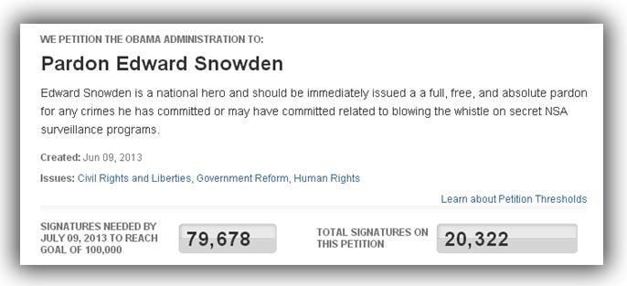 edward snowden petition hong kong