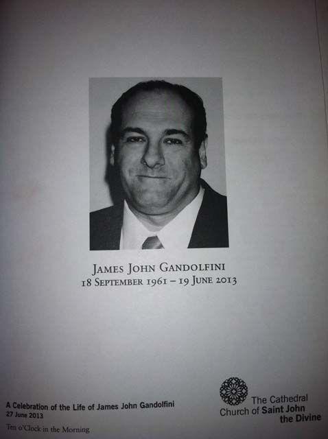 Sopranos, James Gandolfini, Funeral, Memorial Service, Remember, R.I.P., Program