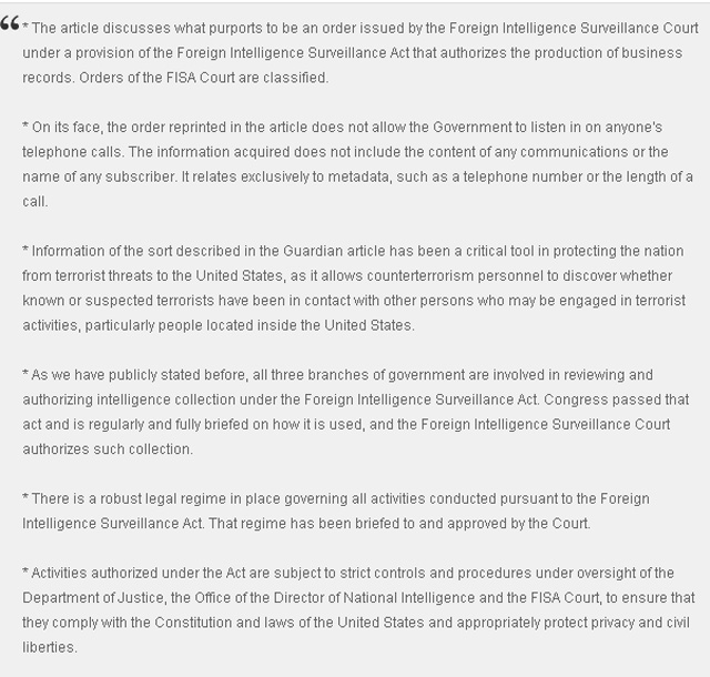 Government Response NSA Verizon