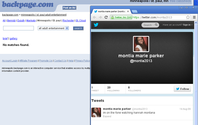 Montia Marie Parker Twitter and backpage