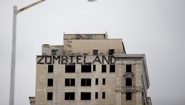 Graffiti covers an abandoned building in Detroit  (Getty Images)