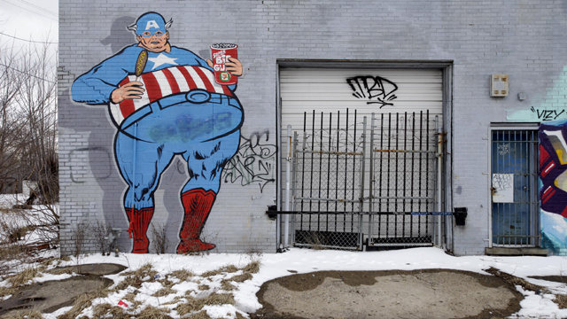 Graffiti covers a building in Detroit, Michigan.  (Getty Images)