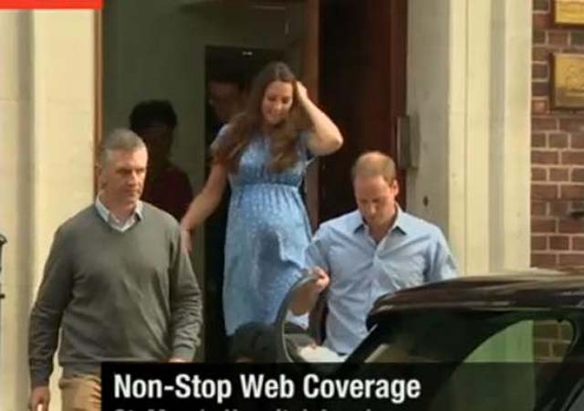 Royal Baby, Appearance, Boy, Kate Middleton, Prince William, Lindo Wing, St. Mary's, Hospital Steps, Princess Diana, Duchess of Cambridge, Duke of Cambridge, Kate Middleton, Prince William, Prince Harry, London, Father, Mother, Crowd, Security