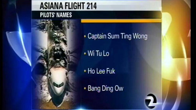 The graphic displaying the incorrect and racist names that were shown during the broadcast. (Photo courtesy of Twitter)