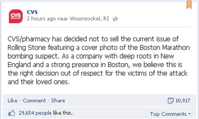 cvs boycotts rolling stone
