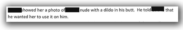 Section of report that indicates one officer sent very sexually explicit photos to the woman in question