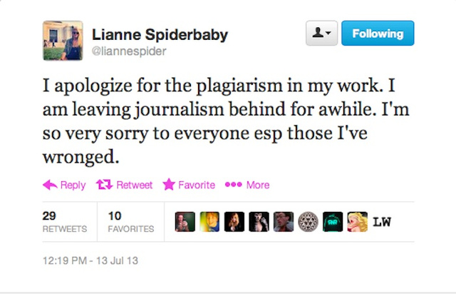 Lianne Spiderbaby admits and apologizes for plagiarizing. (via Defamer)