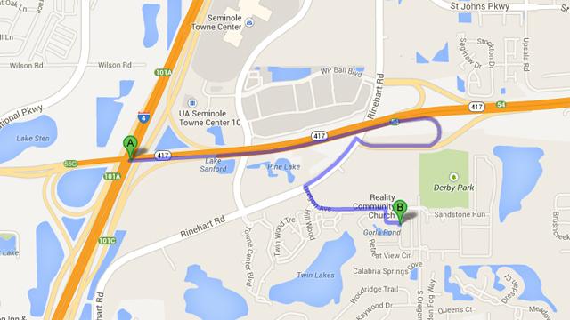 car crash, george zimmerman, trayvon martin, location, map