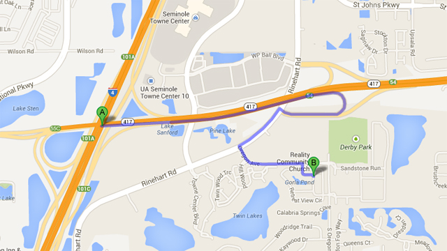Above map shows the intersection of the accident (A) in relation to the location of the Trayvon Martin shooting (B).