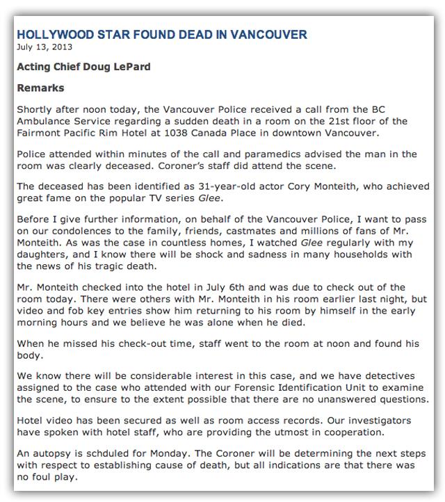 finn hudson dead, cory monteith dies
