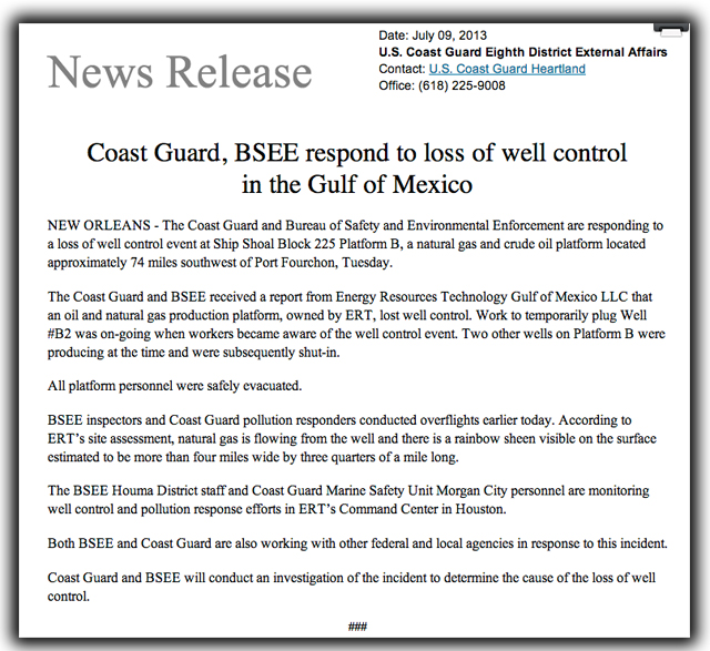 breaking news, gulf of mexico, oil spill, port fourchon, louisiana, Energy Resources Technology, natural gas, crude oil