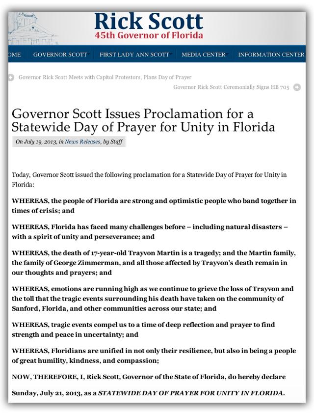 Rick Scott, day of prayer, trayvon martin, george zimmerman, proclamation, florida, day of prayer, unity