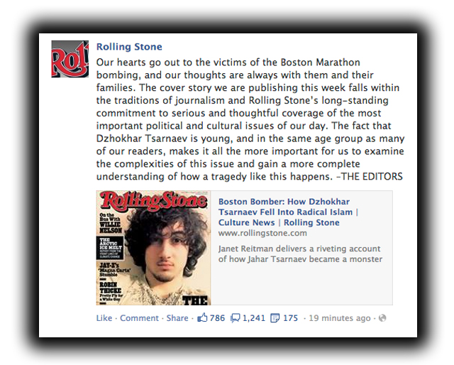 Rolling Stone Statement on Dzhokhar Tsarnaev Cover
