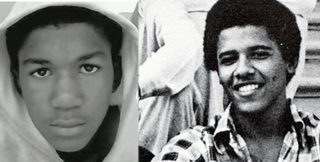 Obama (right) said he could have been Trayvon Martin (left) 35 years ago.