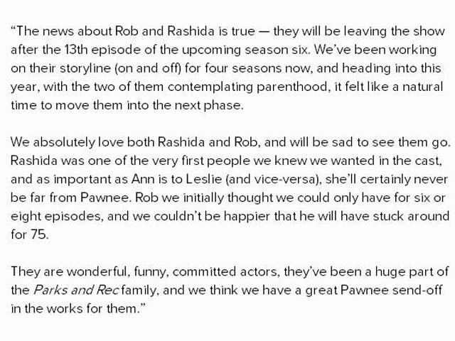 Rob Lowe, Pawnee, Send-off, Rashida Jones, Parks and Rec, Leaving Show, Leave, Parks and Recreation, Mike Schur, statement