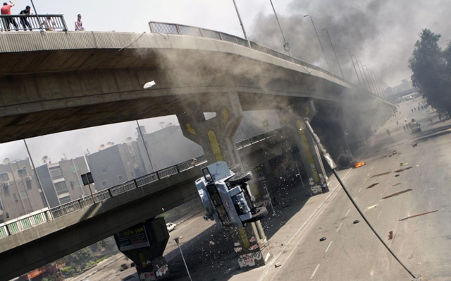 egypt, protest, car, bridge