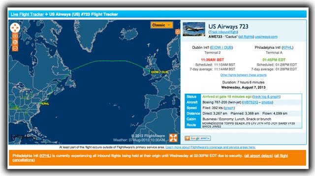 Flight plan of U.S Aiways flight #723