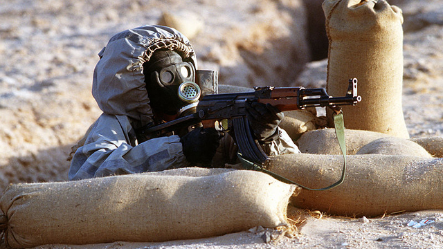 syrian soldier, chemical weapons suit, military