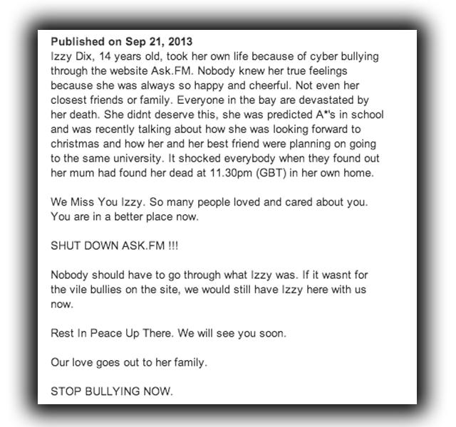 Izzy Dix Bully victim, Izzy Dix Ask.fm, Izzy Dix Online Bullying, Izzy Dix suicide.
