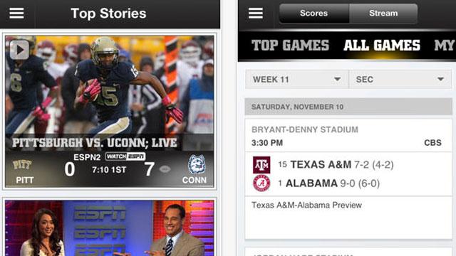 espn college football iphone app