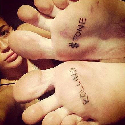 Miley Cyrus Rolling $tone Tattoos Photos, Miley Cyrus Tattoos Rolling Stone Feet Photos, Miley Cyrus Feet Tattoos Photos, Miley Cyrus Rolling Stone Interview
