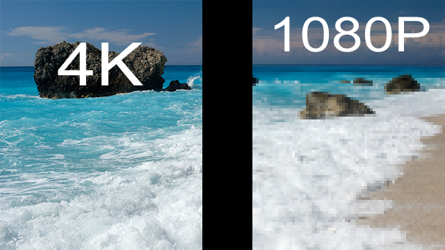 This image shows a 4:1 resolution ratio. To the left of the black bar there are 4 times as many pixels as to the right.  Keep in mind that this is only an accurate comparison if the 4K TV or display is outputting 4K resolution media.