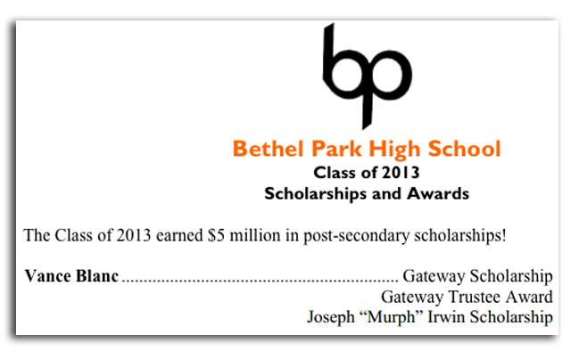 Vance Blanc high school scholarships
