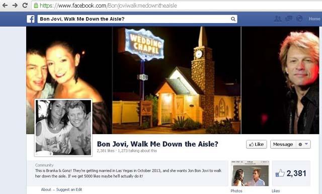 Bon Jovi Walks Fan Down the Aisle, Bon Jovi Las Vegas Wedding, Bon Jovi Fan Wedding Australian