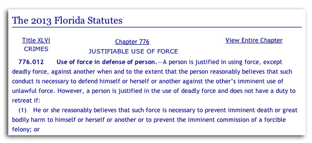 florida self defense law