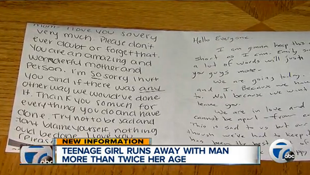 A picture of the letters that Robert Messer, 37, and Emily Lalinsky, 15, left prior to their disappearance.  image Credit: WXYZ Screen Cap