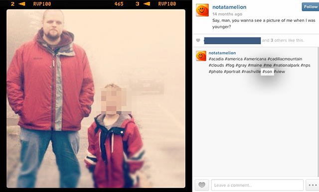 """Photo from Robert Messer's instagram.  The word """"son"""" is hashtagged indicating that this may be a photograph him and his son."""