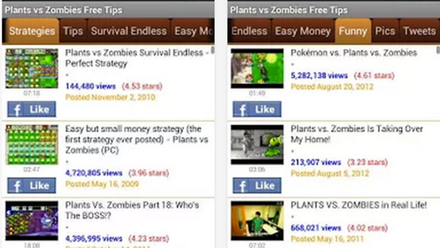 plants vs zombies free tips android app