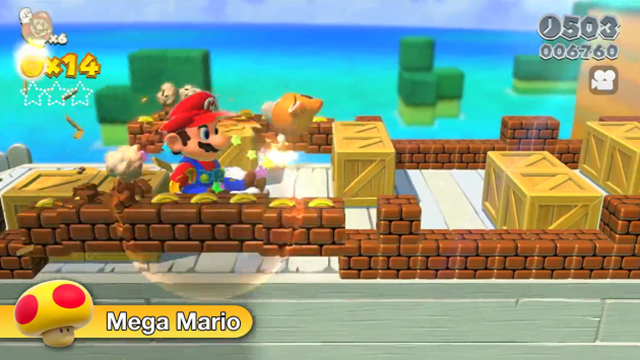Mega Mario returns as a power-up.