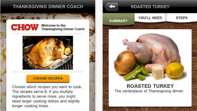 chow's thanksgiving dinner coach iphone app