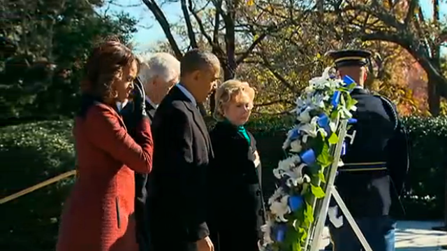 obama and clinton lay wreath at jfk gravesite