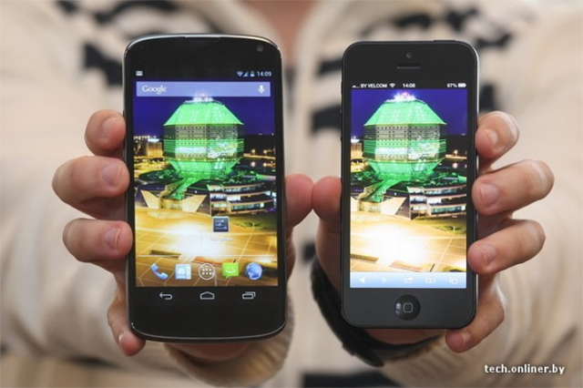 The Nexus 5 next to an iPhone 5.  Read iPhone 5s vs. Nexus 5 here.