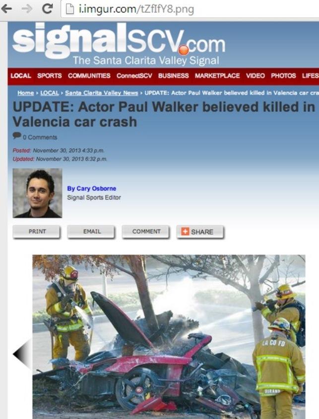 Paul Walker Car Crash, Paul Walker Dead, Paul Walker Death, Paul Walker Death Hoax, Is Paul Walker Dead?, Paul Walker Car Photos